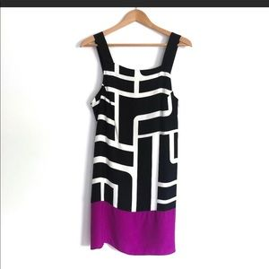 Alice & Trixie Silk Black, White & Fuchsia  Dress